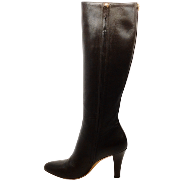 Gucci Dark Brown Leather Boots with Patent Heel
