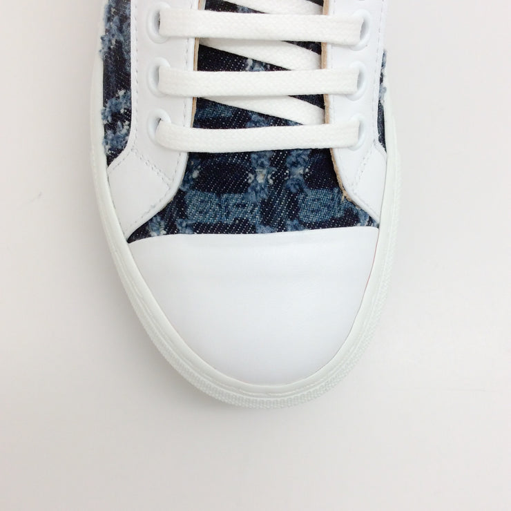Sonia Rykiel White / Denim Logo Tweed Platform Sneakers