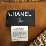 Chanel Bronze Multicolored Tweed Wool Blend Woven Coat
