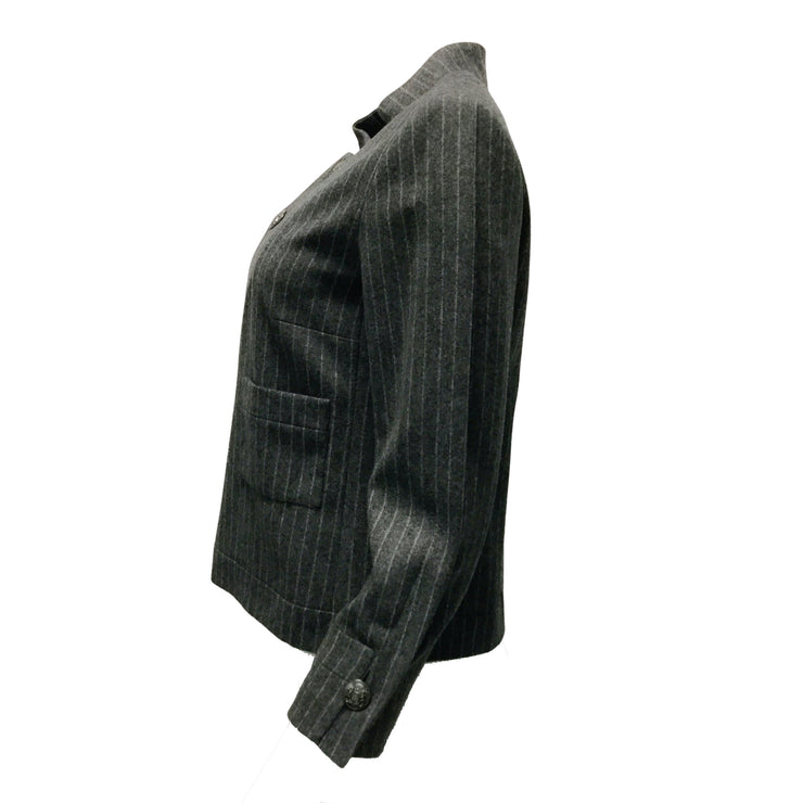 Chanel Grey Pinstriped Wool Blazer