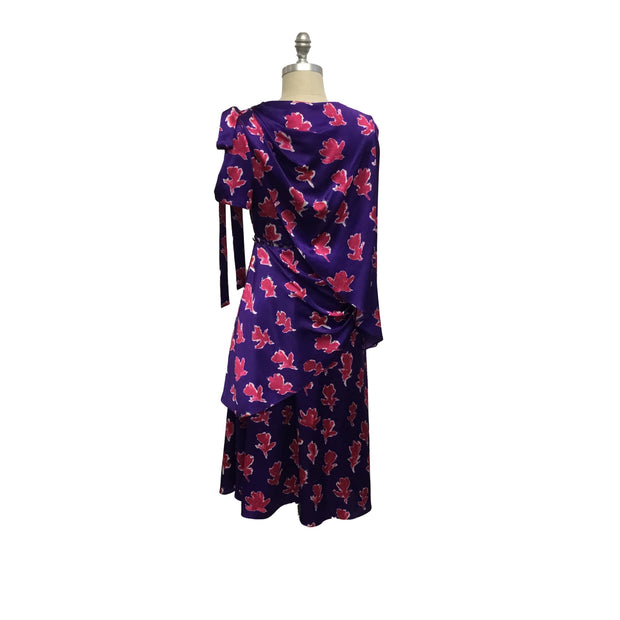 Prabal Gurung Violet Multi Silk Asymmetric Cocktail Dress