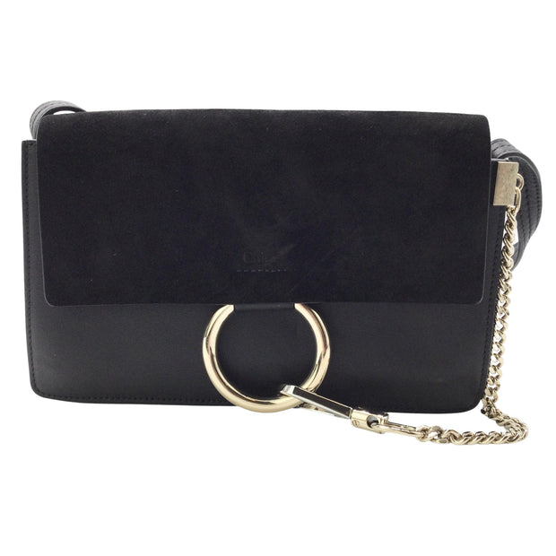 Chloé Faye Black Small Shoulder Bag in Smooth and Suede Calfskin