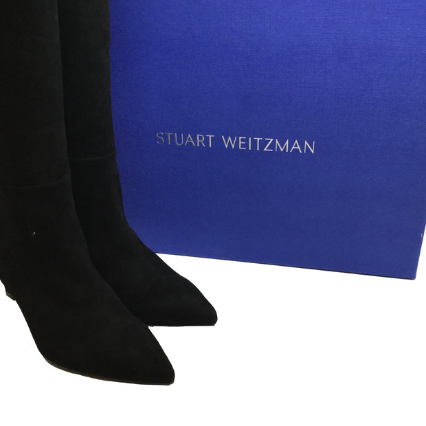 Stuart Weitzman Demi 75 Black Suede Knee High Boots