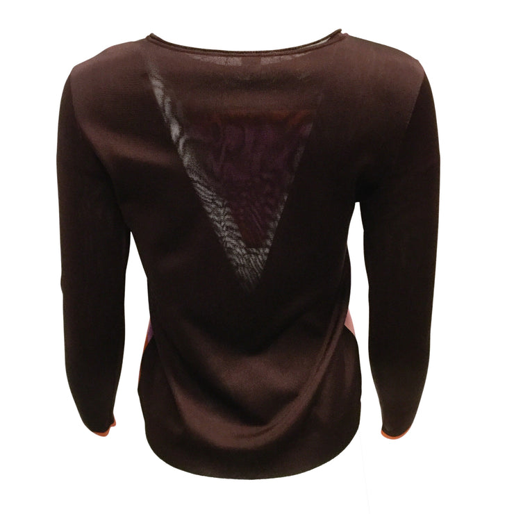 Hermès Burgundy Knit Long Sleeved Top With Multicolored Abstract Print