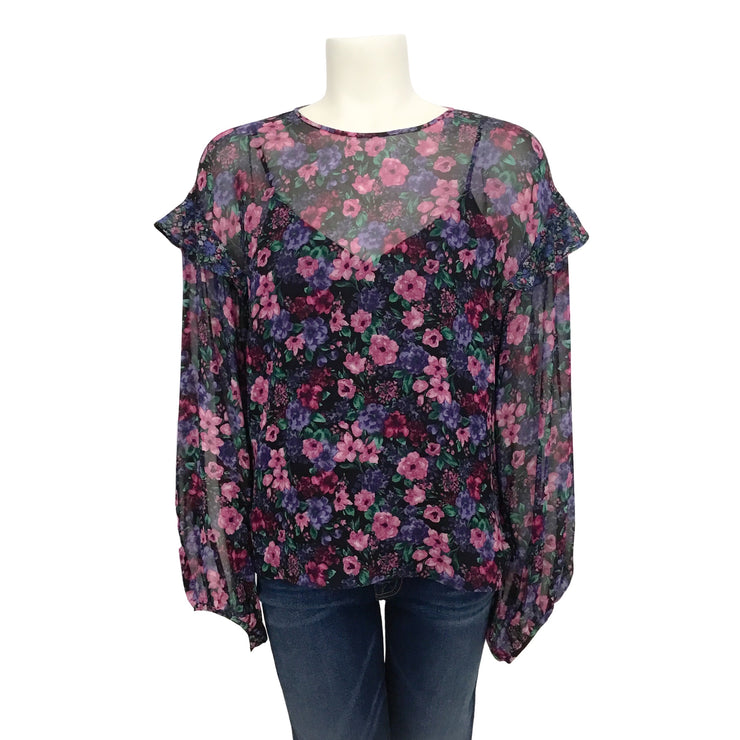 Leur Logette Purple Multi Sheer with Shell Blouse