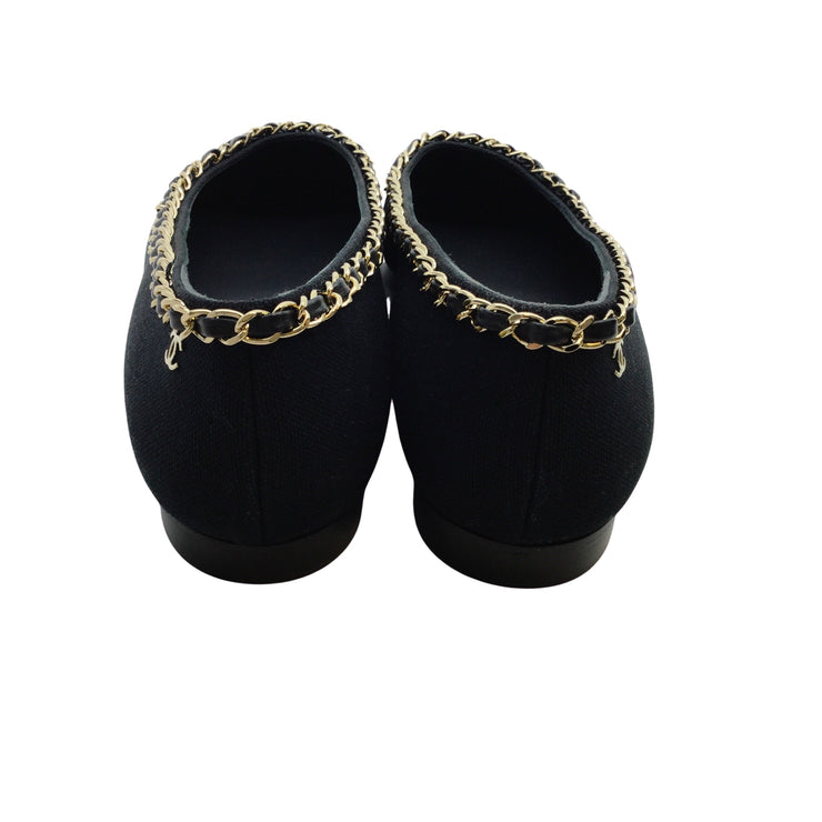 Chanel Gold Chain Black Canvas Pointed Toe Flats