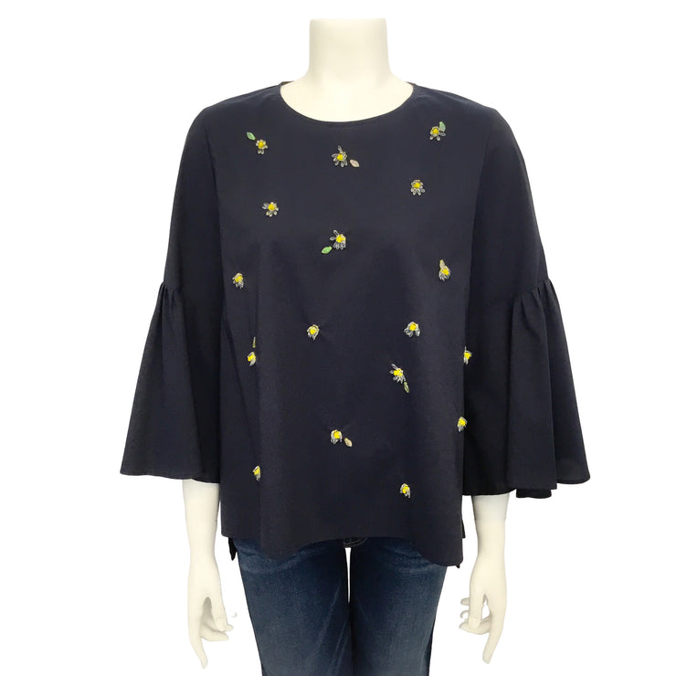 Muveil Navy Blue Bell Sleeve Embellished Blouse