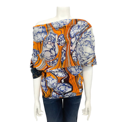 Rosie Assoulin Orange Marble Draped Off Shoulder Blouse