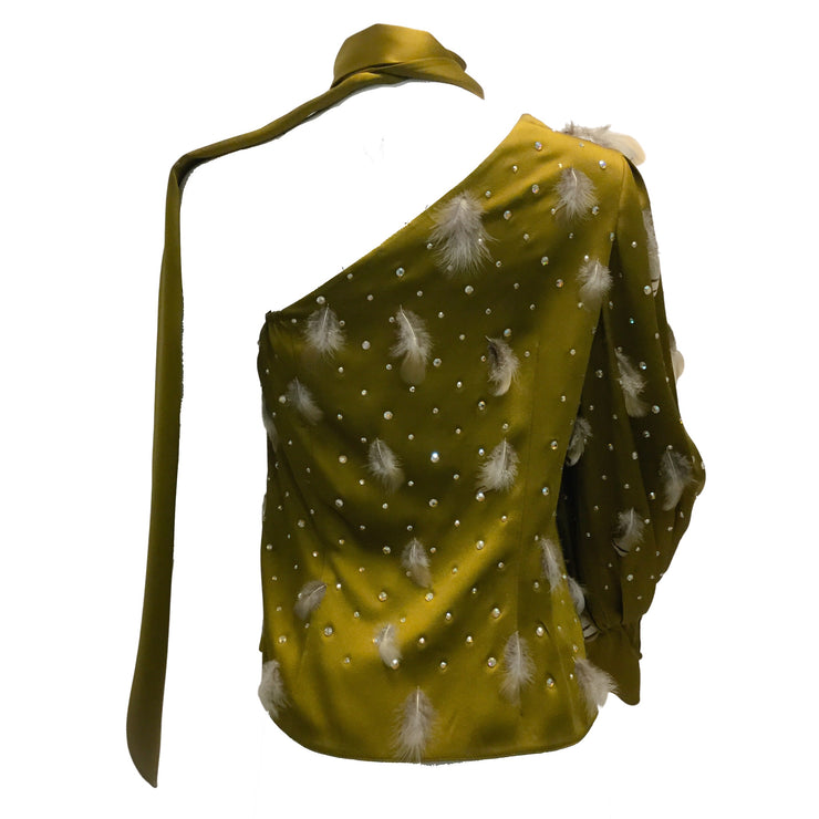 Peter Pilotto Olive Green Satin One Shoulder Blouse