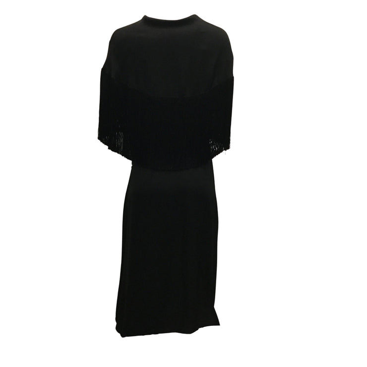Magda Butrym Black Silk Short Sleeved Dress With Fringe Scarf