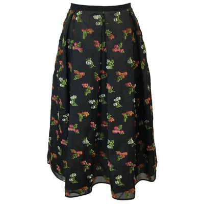 Erdem Ina Floral Embroidered Pleated Silk Skirt