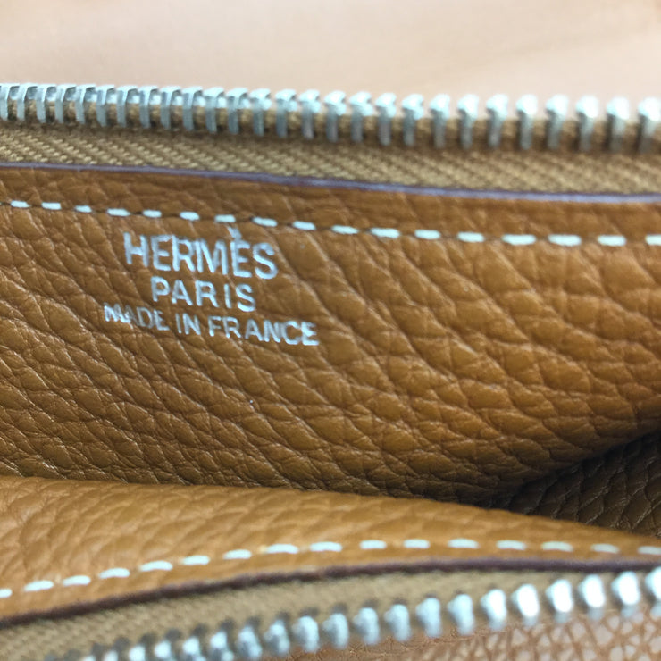 Hermès Tan Pebbled Leather Dogon Large Wallet