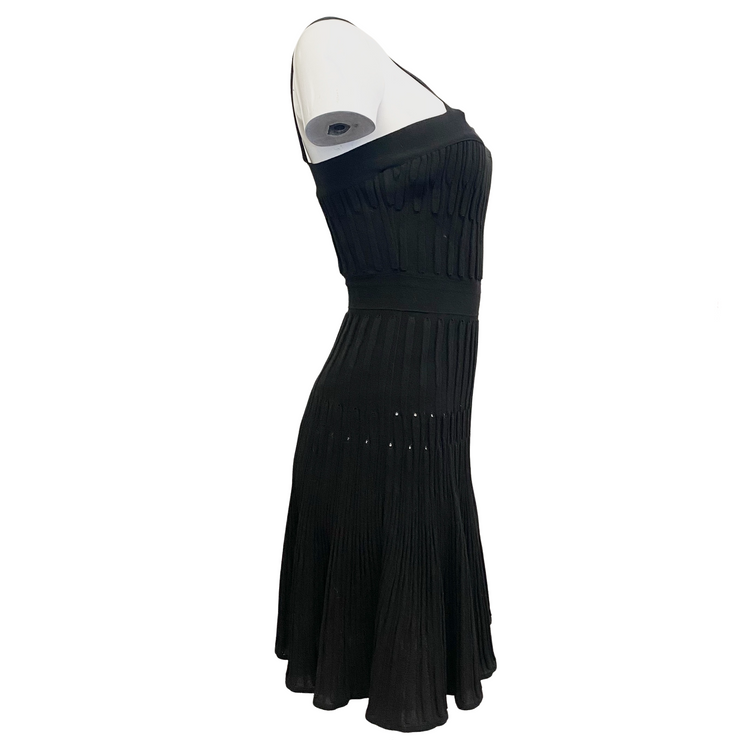 Chanel Black Ribbed Pleated Skirt Dress