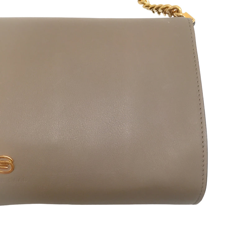 Loewe Fold Over with Chain Beige / Yellow / White Leather Shoulder Bag