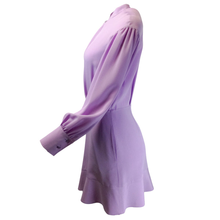 Stella McCartney Lavender Amira Long Sleeved Silk Cocktail Dress