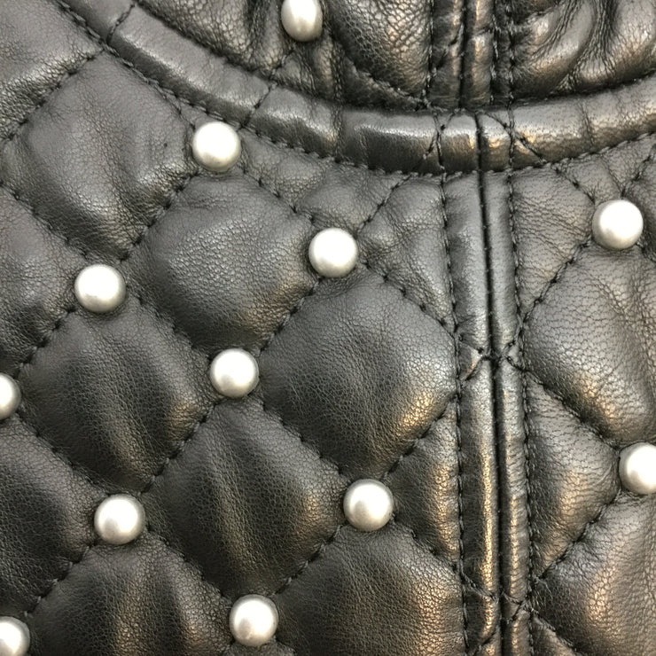Alice + Olivia Black Pearl Studded Quilted Leather Maxi Formal Dress