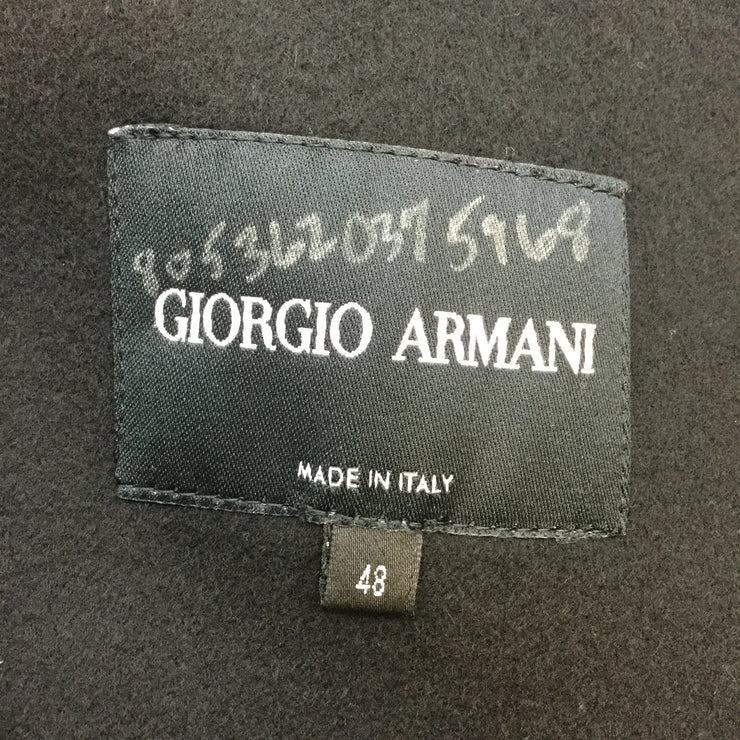 Giorgio Armani Black Wool Coat With Rabbit Fur Collar