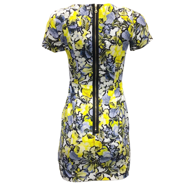 ERDEM Yellow and Blue Multi Floral Casual Dress