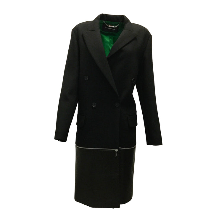 Barbara Bui Black Wool Blend Coat With Leather Trim