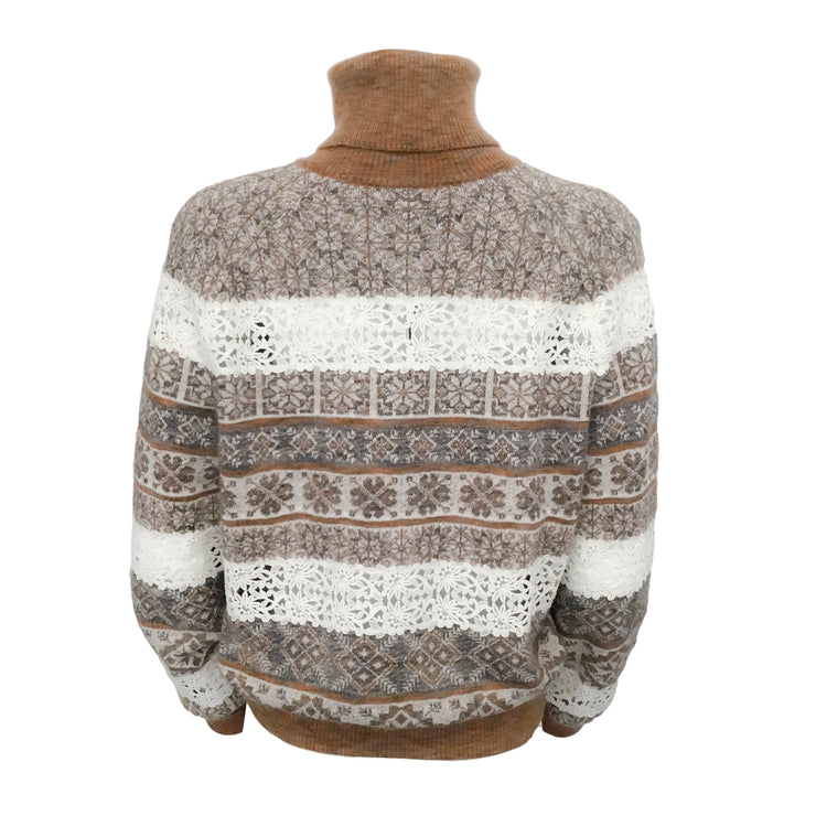 Chanel Turtleneck with Lace Tan Multi Sweater