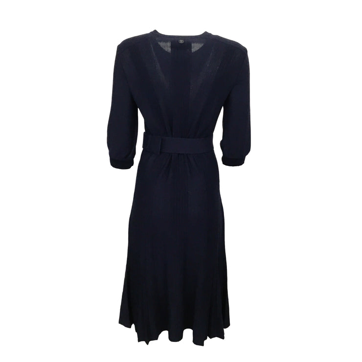 Chanel Navy Blue Knit with Logo Belt Dress