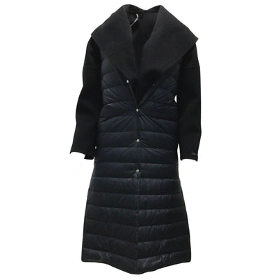 Peserico Navy Blue Mid Length Wool Coat With Puffer Vest