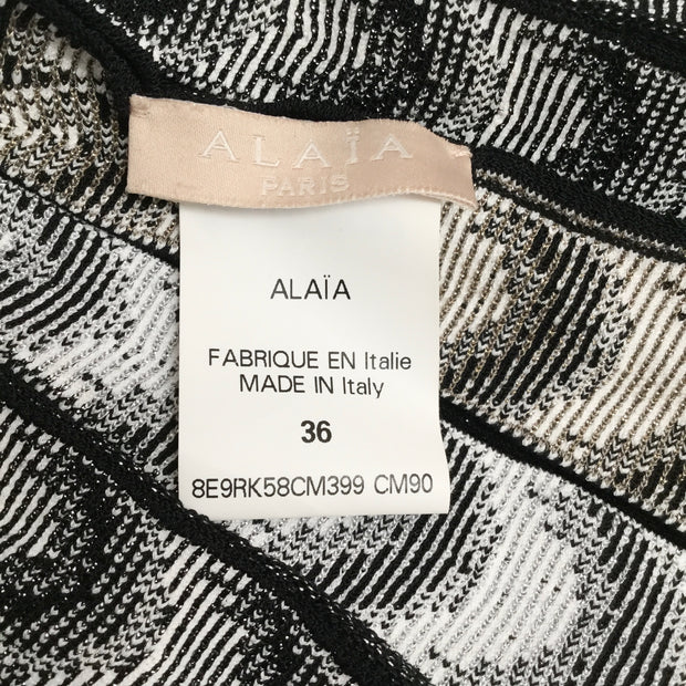 ALAÏA Black / White Pleat Skirt Casual Dress