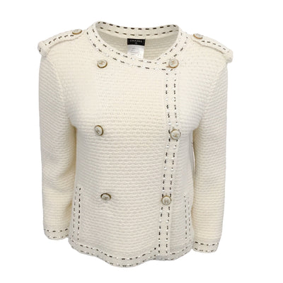 Chanel Knit with Pearl Buttons Ivory Sweater