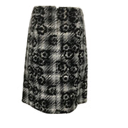 Chanel Grey / Black Plaid Tweed with Camellias Skirt
