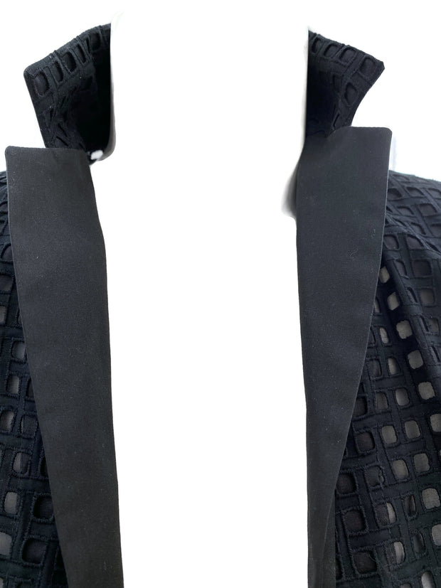 Akris Black Eyelet Open Blazer