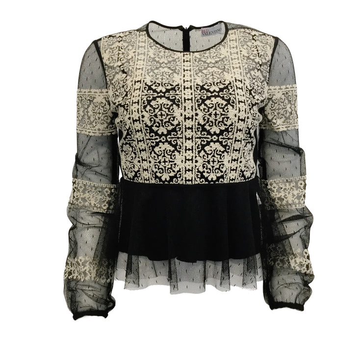 RED Valentino Black / Ivory Tulle Embroidered Blouse