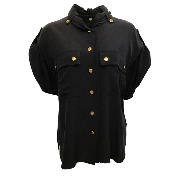 Chloé Ink Navy Gathered Sleeve with Gold Snaps Blouse