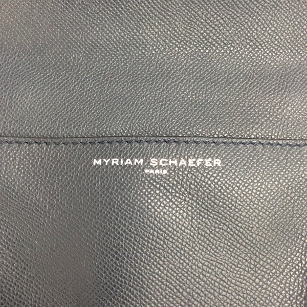 Myriam Schaefer Byron Flap Navy Saffiano Leather Satchel