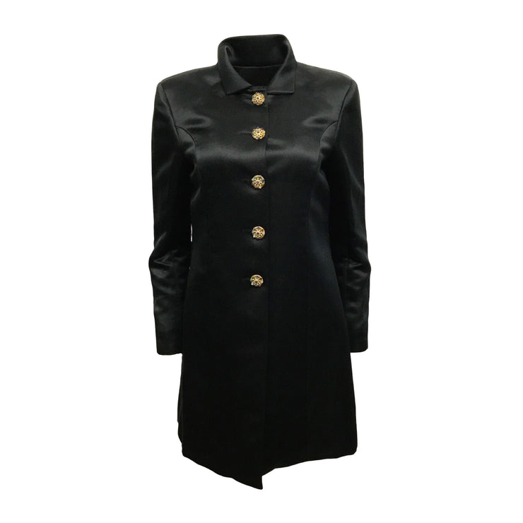 Chanel Black Satin Evening With Gripoix Buttons Coat