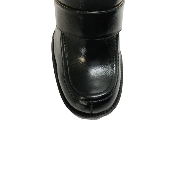 Chloé Black Leather Chunky Heel Loafers
