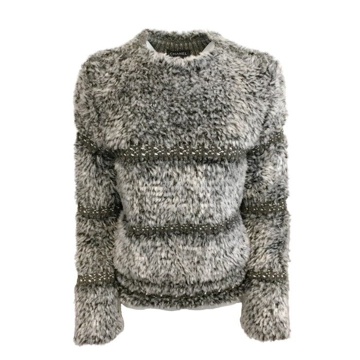 Chanel Textured Woven Grey Sweater