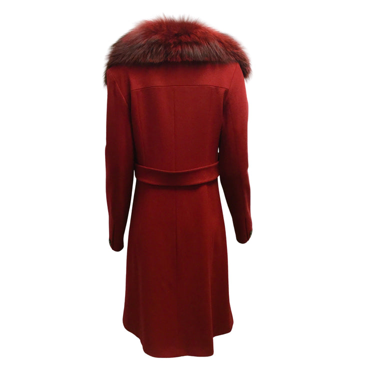 Fleurette Wool Coat with Fox Fur Collar in Currant