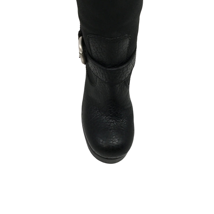 Giuseppe Zanotti Black Leather Tall Shearling Boots