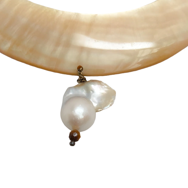 Barbara Harris Gold / Amber Fresh Water Pearl Necklace