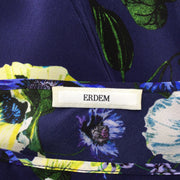 ERDEM Blue Floral Printed Sleeveless Silk Blouse