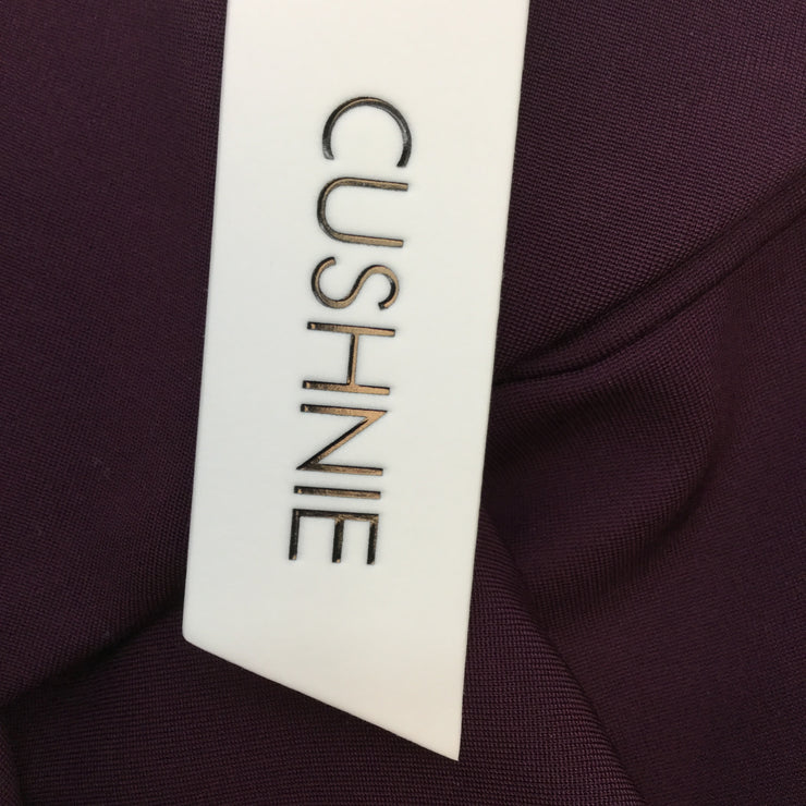 Cushnie Fitted Mini Dress with Scarf Detail Across in Plum