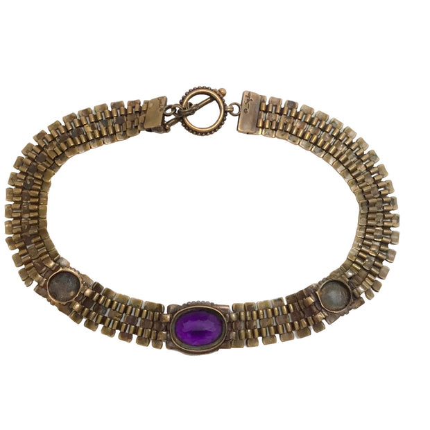 Stephen Dweck Gold Amethyst and Pearl Choker Necklace