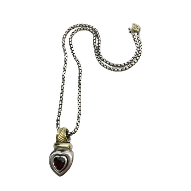 David Yurman Garnet Stone Heart Charm Sterling Silver Necklace