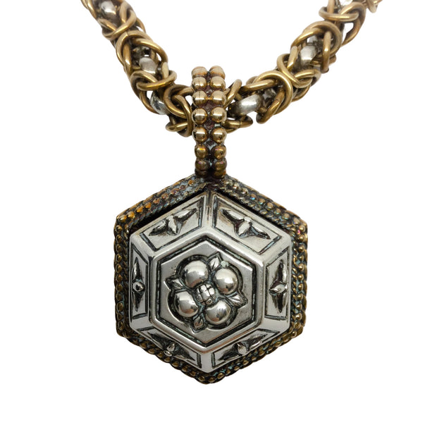 Stephen Dweck Hexagon Pendant Chunky Sterling Silver Chain Toggle Necklace