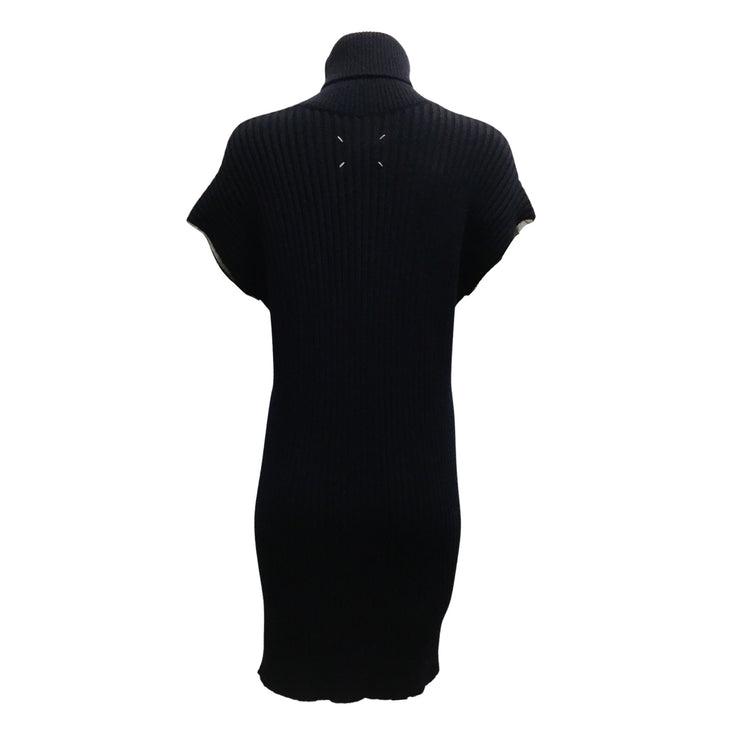Maison Margiela Navy Blue Wool Blend Short Sleeved Turtleneck Dress