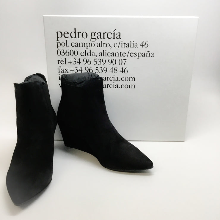 Pedro Garcia Black Olie Suede Wedge Boots/Booties