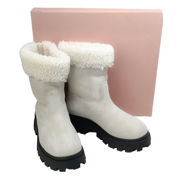 Miu Miu Arctic White Fold Over Fur Boots