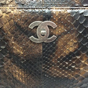 Chanel Brown Python Skin Leather Tote