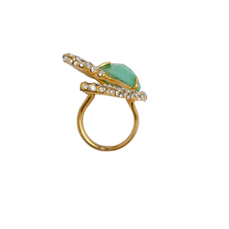 Alexis Bittar Turquoise / Crystal Geometric Ring