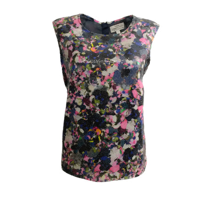 Erdem Sleeveless Sequin Pink Multi Top